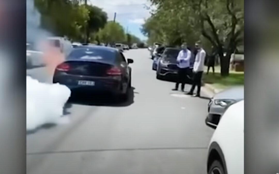 Κάγκουρας προσπαθεί να κάνει burnout σε γάμο και λαμπαδιάζει AMG C63 150.000 ευρώ (Video)