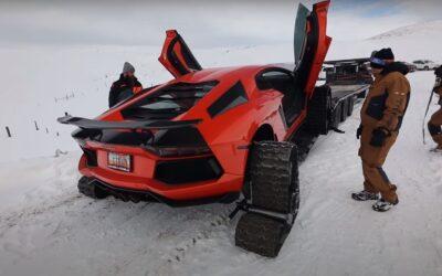 """Δείτε την πρώτη Lamborghini Aventador με ερπύστριες να """"οργώνει"""" στο χιόνι! (Video)"""