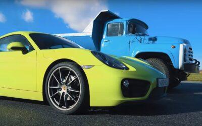 Φορτηγό 15 τόνων κάνει ρεζίλι Porsche 718 Cayman. Μόνο στη Ρωσία (Video)