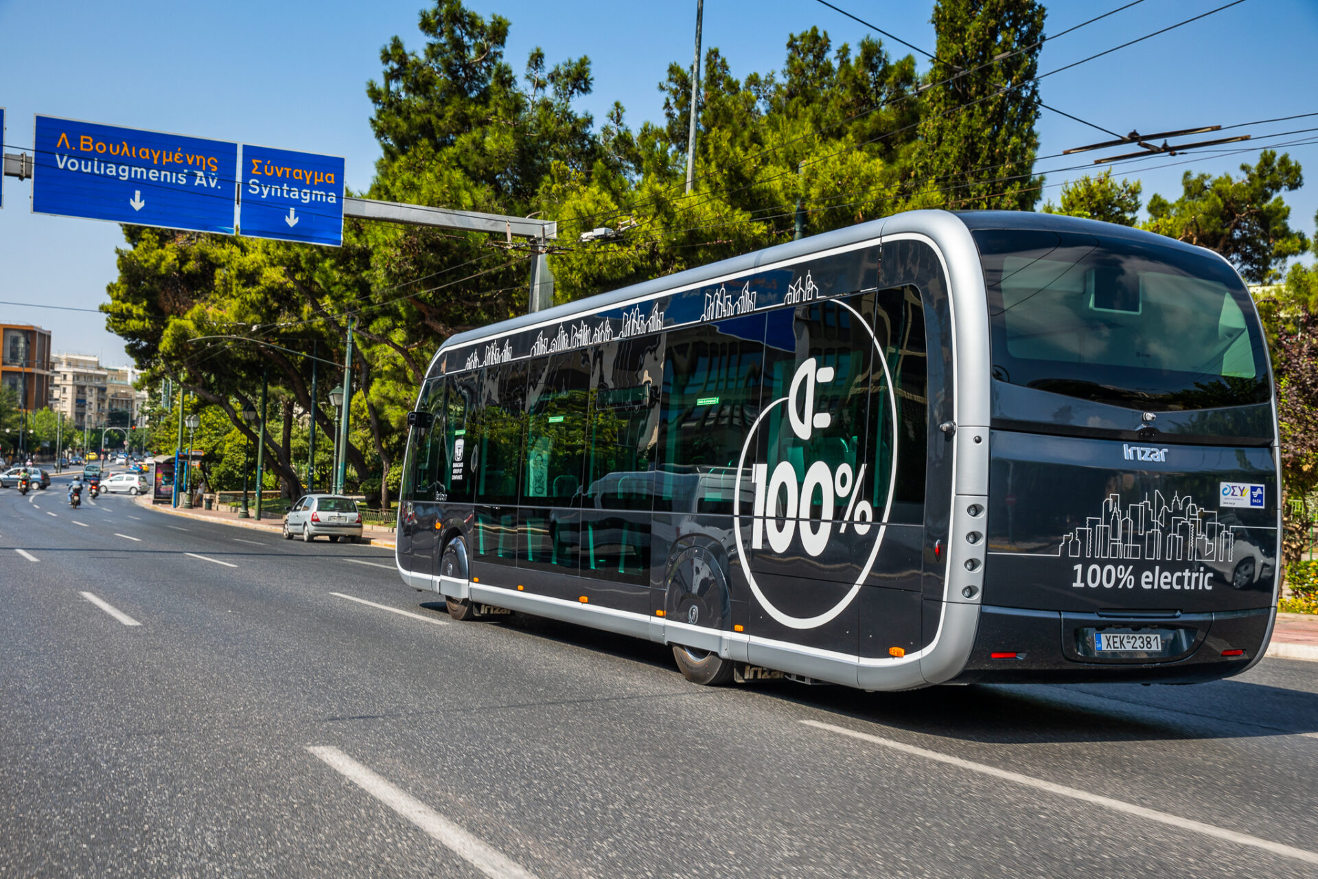 Ένα ηλεκτρικό λεωφορείο Irizar ie γυρίζει στην Αθήνα