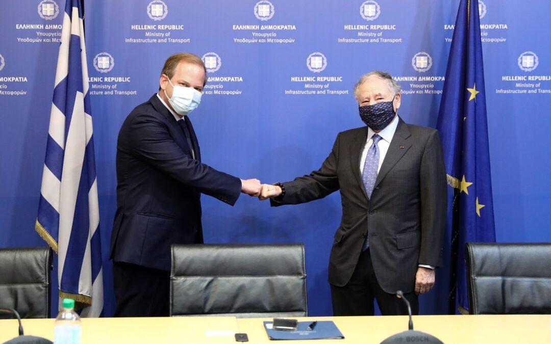 Συνάντηση του υπουργού Υποδομών και Μεταφορών,   Κώστας Καραμανλής με τον πρόεδρο της FIA, Jean Todt.